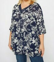 RRP £27, NEW YOURS Navy Floral Crochet Top, SIZES 16-36
