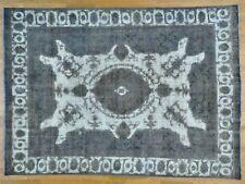 8'x11' Silver Overdyed Village Oriental Pure Wool Vintage Rug R25127