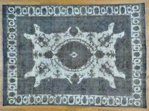 8'x11' Silver Overdyed Farsian Tebraz Boorjata Pure Wool Vintage Rug R25127
