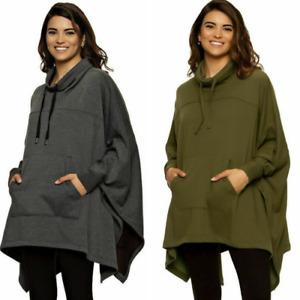 Felina Women's Fleece Lined Poncho Cozy Warm Sweatshirt One Size 1439964