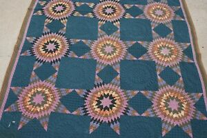 Antique Folk Art Handmade Quilt Primitive Early Hand Stitched Amish Blue 1800's