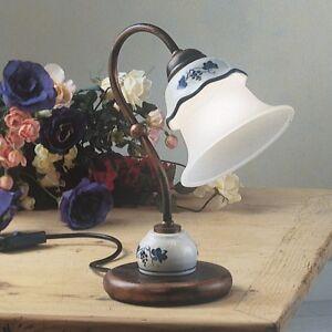 Bedside Lamp Lumetto Wrought Iron Ceramics White Classic