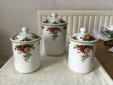 Royal Albert 'Old Country Roses' storage jars one large and two smaller ones