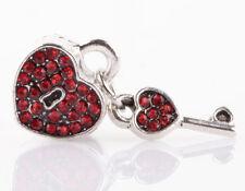 1pcs silver love key red CZ spacer beads fit Charm European Bracelet DIY B#946