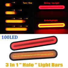 2 x Car Truck 100 LED Neon Halo Ring Tail Brake Light Flowing Turn Signal Lights