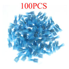 100pcs Fully Insulated Female Spade Electrical Connector Crimp Terminals Blue