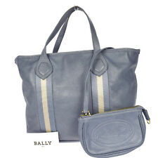 Authentic BALLY Logos Hand Bag Pouch Leather Blue Switzerland Vintage 09F743