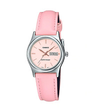 New Casio LTP-V006L-4B Women's PINK Leather Watch PINK Dial Day Date 2020