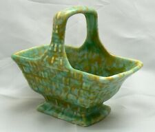 Art Deco 1930s Flaxman Wade Heath basket-shape posy bowl in mottled green/yellow
