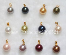 wholesale12 pcs  big 12 mm round south sea shell pearls  pendant with chain AAA