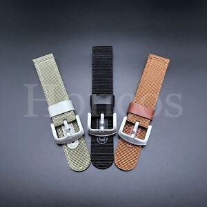 18 -24 MM Black Leather Canvas Nylon Diver Watch Band Strap Military Fits Seiko