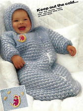 BABY CHUNKY SLEEPING BAG & HAT EASY FAST KNIT KNITTING PATTERN  (850)