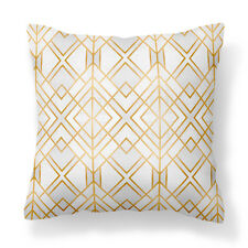 Stylish, Modern decor Gold & White Cushion Cover/Throw Pillow/Sofa/Couch/Bedroom