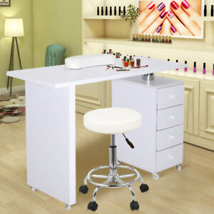 4 Drawers Beauty Salon Large Manicure Nail Table Work Station Desk with/No Stool