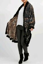 Designer Inspired Chain & Leopard Print Faux Fur Pom Poms Pashmina Shawl Wrap