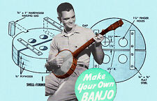 Make this woodworking project Five String Banjo Printed plans and building notes