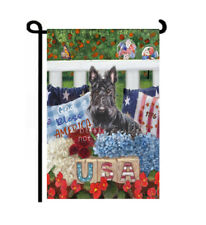Scottie July 4th dog Garden Flag Summer Decor Independence Day red white blue