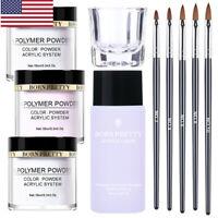 10Pcs/Set BORN PRETTY White Clear Acrylic Powder Liquid Nail Extension Brushes