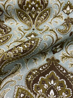 Fabricut Elegant Damask Teal Linen Fabric By the Yard