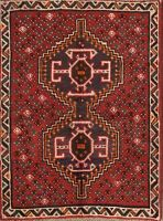 Geometric Tribal Abadeh Oriental Area Rug Wool Hand-Knotted Nomad Carpet 4'x5'