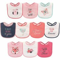 Hudson Baby Boy Drooler Bibs, 10-Pack, Girl Fox