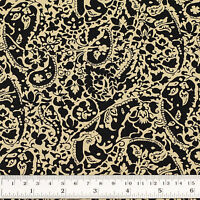 Cotton Print Fabric FQ - Abstract Paisley & Flower for Bandana Scarf Napkin VK93