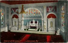 1909. INTERIOR, ST JOHN'S CHURCH. JOHNSTOWN, PA. POSTCARD DD9
