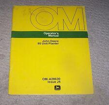John Deere 80 Unit Planter Operators Man OM-A28630  J4 Used