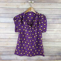 FOSSIL Women's Sleeveless Scoop Neck Blouse Top S Small Purple Polka Dots