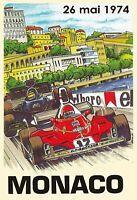 Monaco Grand Prix 1974 Letrero de Metal Arqueado Tin Sign 20 X 30CM