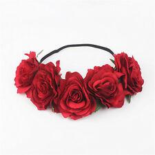 Large Rose Flower Hair Crown Garland Vintage Headband Boho Festival Hairband