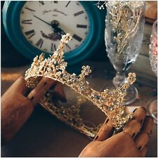 2018 Stunning Baroque Crystal Bead Gold Crown Jewelry Pageant Wedding Bridal