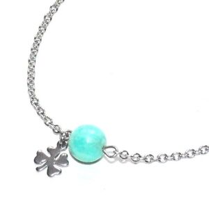 ZéeO Bijoux Chain Anklet Steel Silver Amazonite Blue Charm