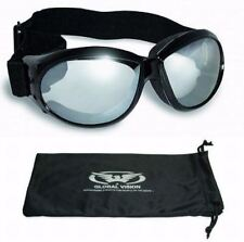 Eliminator Foam Padded Motorcycle Riding ATV Goggles-CLEAR MIRROR LENSES w/Pouch