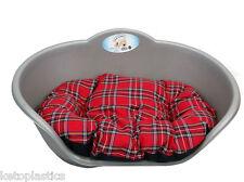 LARGE PLASTIC SILVER GREY PET BED WITH RED TARTAN CUSHION DOG CAT SLEEP BASKET