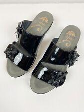 DANSKO Women's Leather Black Adjustable Strap Flower Textured Patent 38 US 7.5