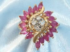 14K Yellow Gold Ring, 16, 2.25 X 4mm Natural Rubies, 4, 1.75mm Diamonds, Size 6