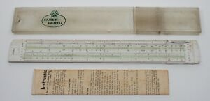 "Vintage German ""Rietz"" Faber Castell Slide Rule Ruler with instructions No 57/87"