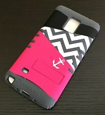 For Samsung Galaxy Note 4 - HARD&SOFT SILICONE ARMOR KICKSTAND CASE PINK CHEVRON