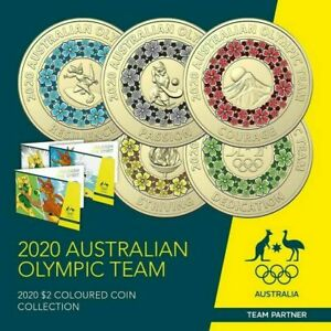 2020 $2 TOKYO OLYMPIC 5 COIN COLOURED SET IN DISPLAY FOLDER 📫 FREE TRACKED POST