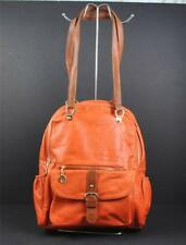 Stanford Style Backpack Laptop Quality Vegan Faux Leather Burnt Orange G5