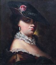 Large 18th Century French School Portrait Of A Lady Wearing A Hat & Pearls