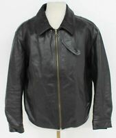 ARMANI JEANS Men's Dark Brown Vintage Leather Harrington Jacket Size UK44