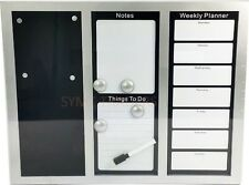 SILVER BLACK MAGNETIC MEMO NOTICE WHITE BOARD WEEKLY PLANNER ORGANISER MESSAGE