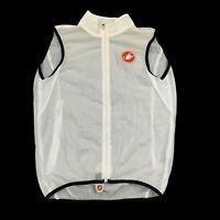 Castelli Mens White Transparent Full Zip Sleeveless Cycling Jersey Size Medium