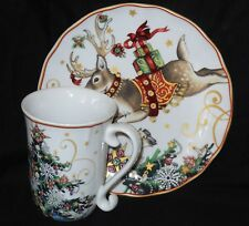 Williams-Sonoma Holiday Christmas Tree Coffee/Tea Mug/Cup and plate
