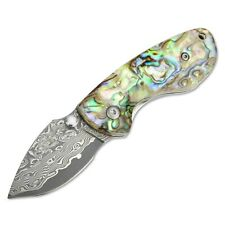 Mini Damascus Steel Folding Pocket Knife w/Thumb Stud 2-3/4-Inch Closed KUBEY