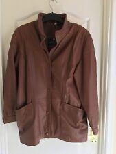 Lakeland  tan lined leather jacket with belt size 16