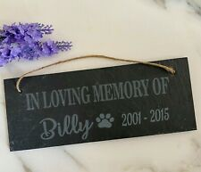 Personalised Engraved Slate Pet Memorial Hanging Marker Plaque Dog, Cat, Rabbit