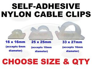 Car Cable Clamp Wire Clips Self-adhesive Tie Holder Rectangle Cord Mount 3 Sizes